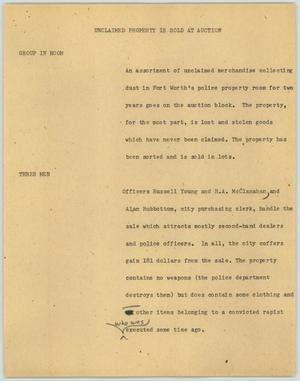 Primary view of object titled '[News Script: Unclaimed property is sold at auction]'.