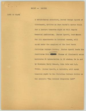 Primary view of object titled '[News Script: Brief--Doctor]'.