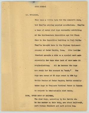 Primary view of object titled '[News Script: Mush Dogs]'.