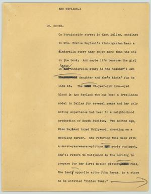 Primary view of object titled '[News Script: Anne Neyland]'.