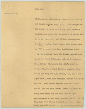 Primary view of object titled '[News Script: Miss Navy]'.