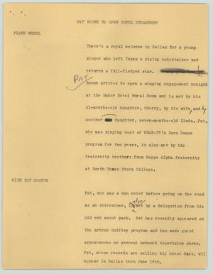 Primary view of object titled '[News Script: Pat Boone to open hotel engagement]'.