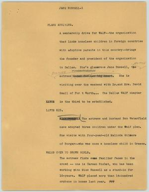 Primary view of object titled '[News Script: Jane Russell]'.