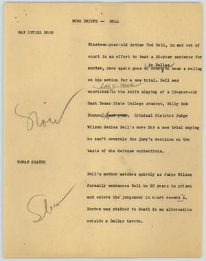 Primary view of object titled '[News Script: News Briefs--Bell]'.