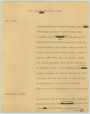Primary view of object titled '[News Script: Movie film used to convict driver]'.