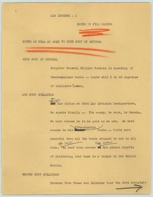 Primary view of object titled '[News Script: Air defense]'.