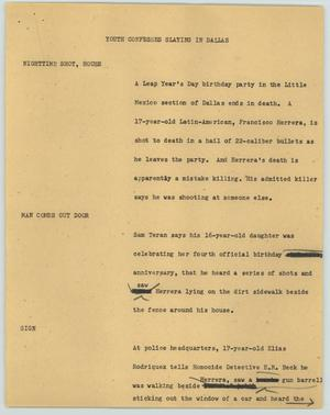 Primary view of object titled '[News Script: Youth confesses slaying in Dallas]'.