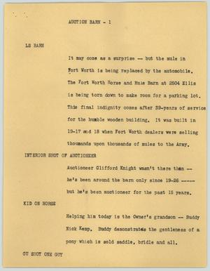 Primary view of object titled '[News Script: Auction Barn]'.