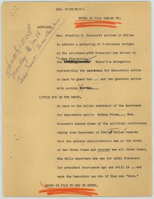 Primary view of object titled '[News Script: Mrs. Roosevelt]'.