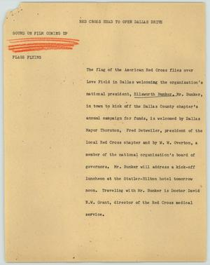 Primary view of object titled '[News Script: Red Cross head to open Dallas drive]'.