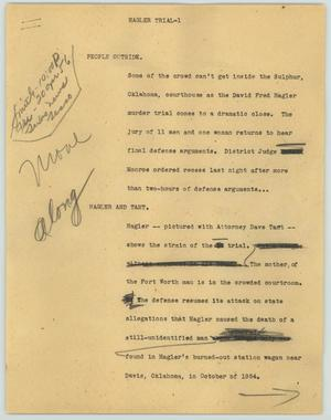 Primary view of object titled '[News Script: Hagler trial]'.