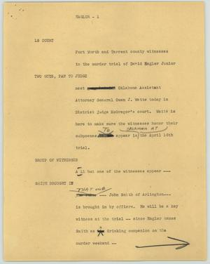Primary view of object titled '[News Script: Hagler]'.