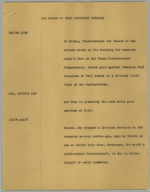 Primary view of object titled '[News Script: Joe Boland to meet Jorgensen Thursday]'.