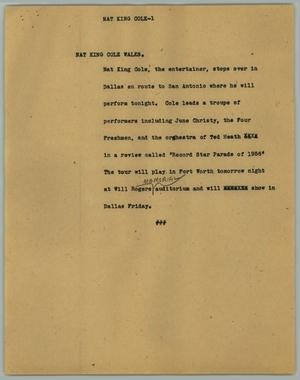 Primary view of object titled '[News Script: Nat King Cole]'.