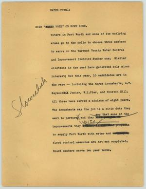 Primary view of object titled '[News Script: Water Vote]'.