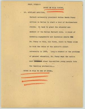 Primary view of object titled '[News Script: Prof. Pusey]'.