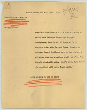 Primary view of object titled '[News Script: Porter Thinks Ike Will Carry Texas]'.