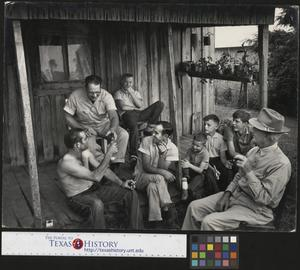 Primary view of object titled '[Boys and Men on Porch]'.