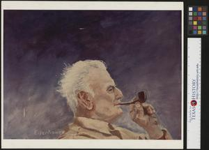 Primary view of object titled '[Painted portrait of Pappy Clark smoking a pipe]'.
