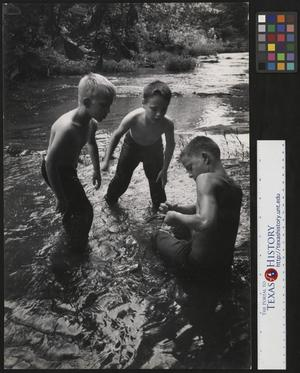 Primary view of object titled '[Three boys fishing]'.