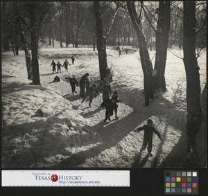 Primary view of object titled '[Children Ice Skating on the River Rouge in the Snow (3)]'.