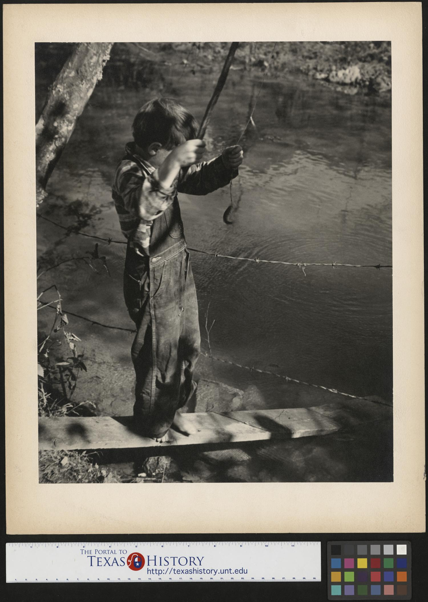 [Boy Catches Fish], Photograph of a boy fishing. In this image a boy named Gene is wearing overalls and standing barefoot on a plank partially submerged in the water. The boy is holding a fishing pole with a fish at the end of the line. Photo by: Joe Clark, HBSS.,