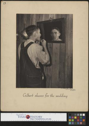 Primary view of object titled '[Gilbert Dove shaves for his wedding(2)]'.