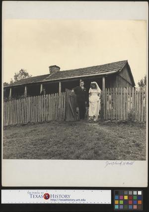 Primary view of object titled '[Gilbert Dove and Hazel Petrey leaving for the church(1)]'.