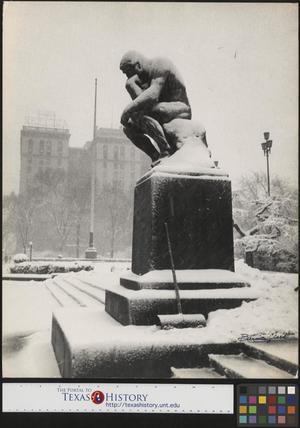 Primary view of object titled '[The Thinker Covered in Snow, 1956]'.