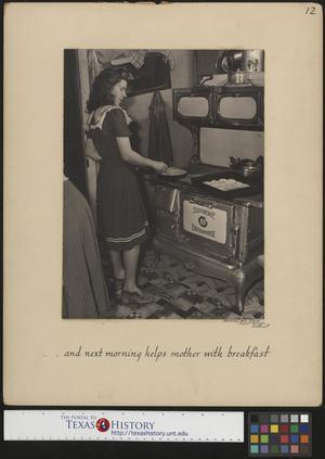 Primary view of object titled '[Hazel Petrey cooking breakfast on her wedding day(2)]'.