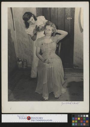 Primary view of object titled '[Gerry Petrey brushes Mabel Henderson's hair(2)]'.