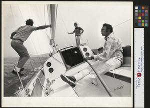Primary view of object titled '[Three Men on a Sailboat]'.