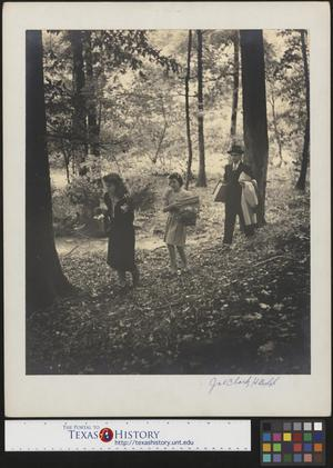 Primary view of object titled '[Man with Two Women in Forest]'.