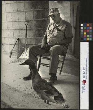 Primary view of object titled '[Unidentified man with goose]'.
