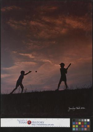 Primary view of object titled '[Two boys play ball at dusk]'.