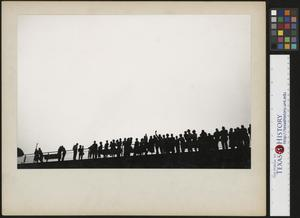 Primary view of object titled '[Lined up on the observation deck]'.