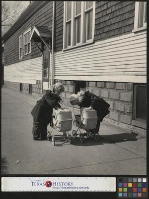 Primary view of object titled '[Two Girls Looking in Strollers]'.