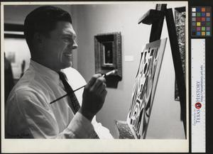 Primary view of object titled '[Photograph of a Man Painting]'.