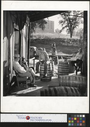 Primary view of object titled '[Men on Porch]'.