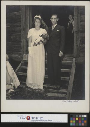 Primary view of object titled '[Bride and groom pose for pictures(1)]'.