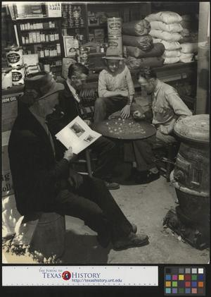 Primary view of object titled '[Checkers in the country store]'.