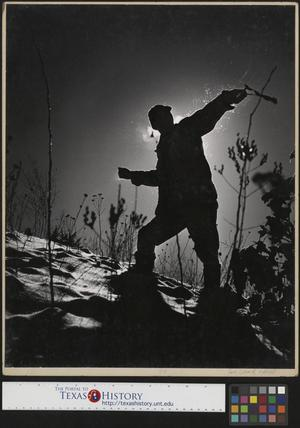 Primary view of object titled '[John Milligan Hunting with a Slingshot (1) Sihlouette]'.