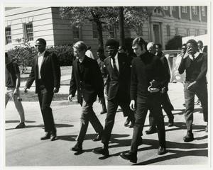 Primary view of object titled 'NTSU students march at a memorial ceremony for Dr. Martin Luther King, Jr.'.