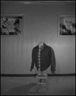 Primary view of object titled '[Mannequin in plaid shirt and jacket]'.