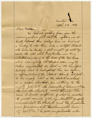 A yellow page with a handwritten letter on it in black ink
