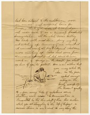 A yellow page with a handwritten letter on it in black ink. Towards the bottom of the letter is a drawing of someone sitting on a rock by a body of water.