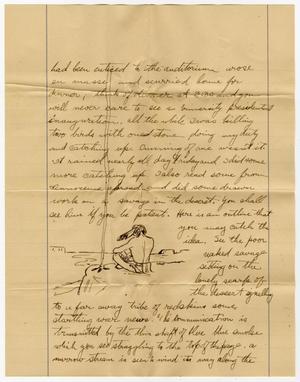 Una página amarilla con una carta manuscrita en tinta negra. Hacia el final de la carta hay un dibujo de alguien sentado en una roca junto a una masa de agua.