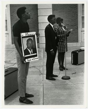 Primary view of object titled 'NTSU students demonstrate at a memorial ceremony for Dr. Martin Luther King, Jr.'.