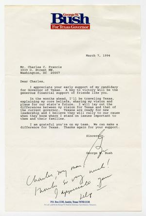 Primary view of object titled '[Letter from George W. Bush to Charles C. Francis, March 7, 1994]'.