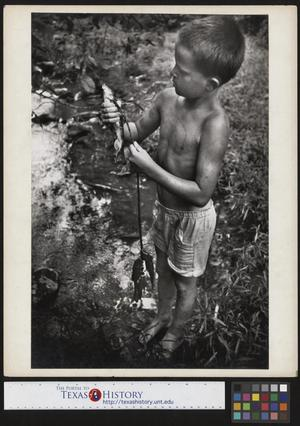 Primary view of object titled '[Jimmy Powell Stringing Fish]'.